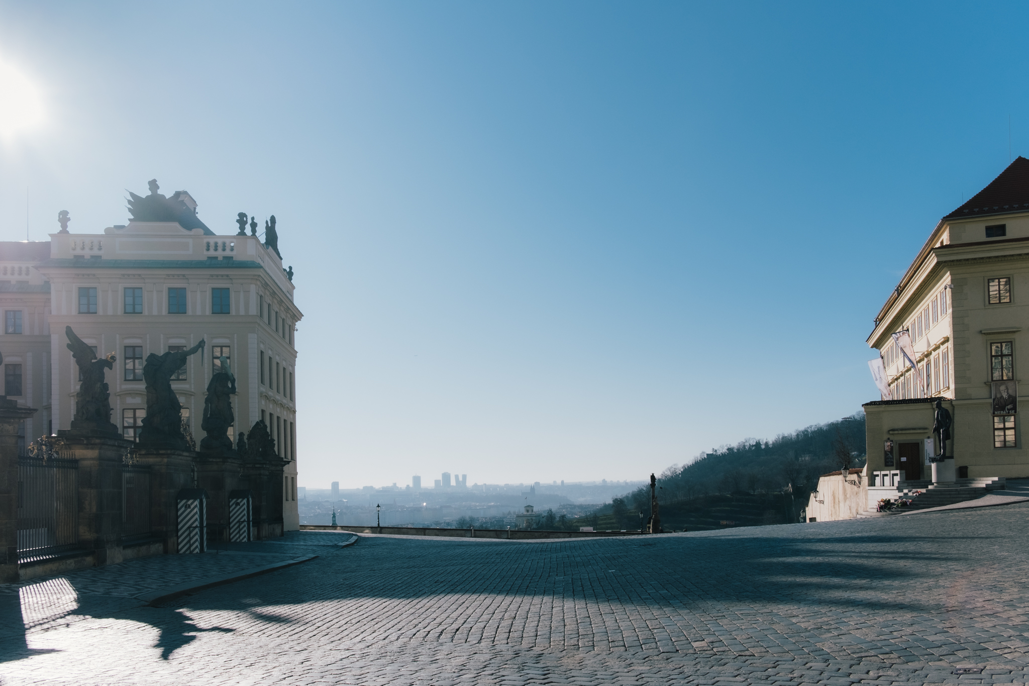 Prague Castle Main Gate and Viewpoint Empty
