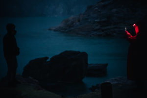 Ijen Volcano Crater Lake in the dark