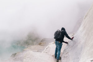 Tourist making his way out of Ijen Volcano
