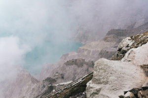 Ijen Volcano Crater lake from the caldera