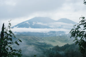 A view from the path leading down from Ijen volcano